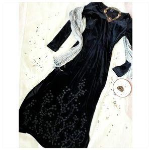 Vintage Karen Kane Embellished Goth Velvet Dress